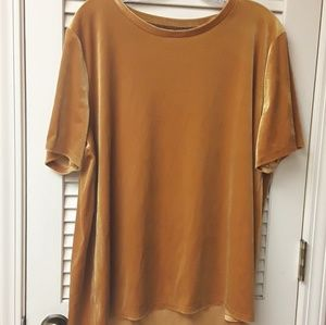 Gold Boho Mustard Yellow Velvet Top XL